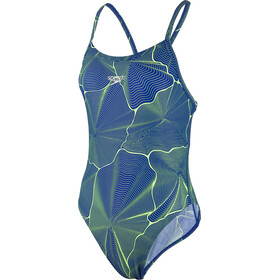 speedo MirrorFizz Allover Turnback Swimsuit Damen blue/green
